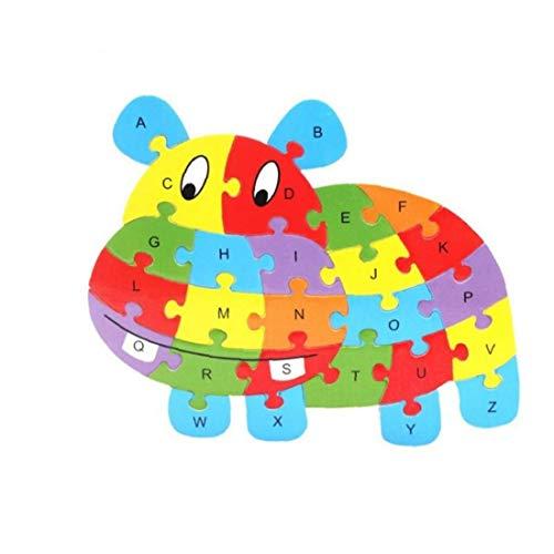 26 Piezas de Lados Dobles de Madera Puzzle Ganado los niños del niño del Alfabeto aprendiendo la educación ABC Juguete Jigsaw 25 * 21 * 0.4cm