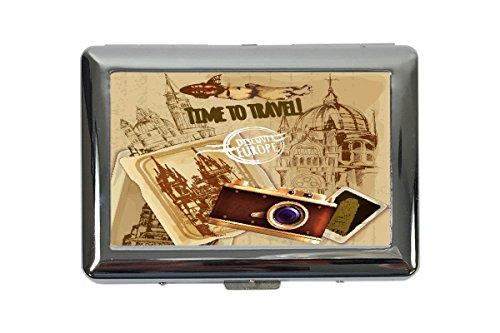 portasigarette in Metallo Vacanza Agenzia Di Viaggi Viaggi Europa Stampato