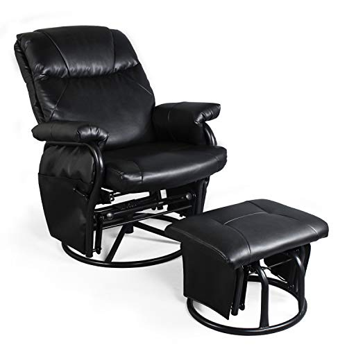 Recliner Chair with Ottoman Living Room Chairs Faux Leather Glider Chair 360 Degree Rotation Leisure and Relaxation Furniture (Black)