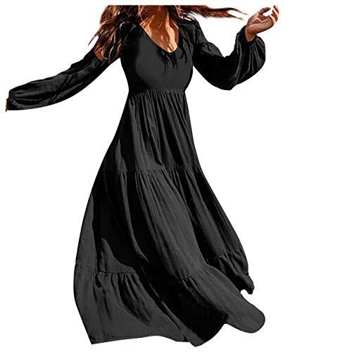 Inawayls Frauen Retro Kleid Herbstliches Langarmkleid Lässiges einfarbiges Maxikleid...