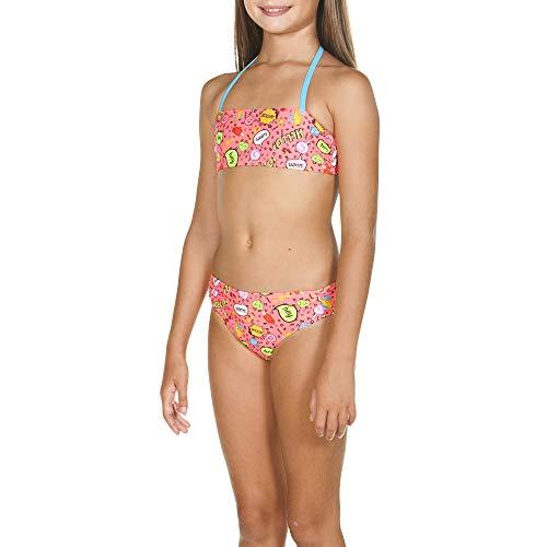 ARENA Mädchen Bandeau Bikini Fantasy, Shiny pink Multi, 152