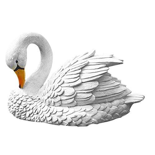 ZLININ Y-longhair - Figuras de resina para decoración de jardín, diseño de cisne
