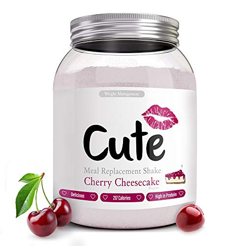 Cute Nutrition Cherry Cheesecake Meal Replacement Shakes for Weight Loss Control Diet Shake for Women 500g tub with Bonus 4 Week Fat Buster Workout Plan