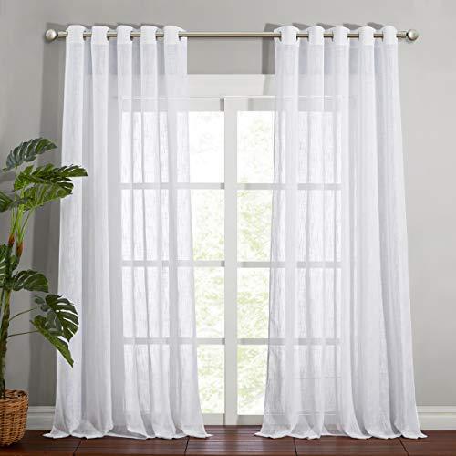 NICETOWN Linen Sheer White Curtains 95 inches Length for Windows, Grommet Top Elegant Linen Blend Textured Window Dressings for French Door / Bedroom / Living Room, W70 x L95, 1 Pair