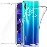 Coque Huawei P Smart 2019 / Honor 10 Lite Transparente + Verre trempé Protecteur écran, Leathlux Souple Silicone Étui Protection Bumper Housse Clair TPU Gel Case Cover pour Huawei Honor 10 Lite 6.21'