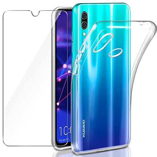 Leathlux Hülle Kompatibel mit Huawei P Smart 2019 mit Panzerglas, P Smart 2019 Durchsichtig Hülle Transparent Silikon TPU Schutzhülle Premium 9H Gehärtetes Glas für Huawei P Smart 2019