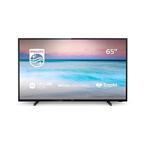 Philips 65PUS6504/12, Smart TV con 4K UHD, Compatibilidad con HDR 10+, Dolby Vision, Dolby Atmos, Wireless/Ethernet/HDMI/USB, 164 cm (65 Pulgadas), Negro
