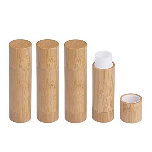 BANAMANA Lot de 4 Tubes Baume à lèvres en Bambou Naturel, 5.5g Vide Rechargeables DIY LipstickHolder Déodorant CaseWith Blanc PP Plastique intérieur