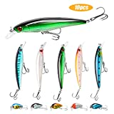 SundayPro Fishing Lures Kit Minnow Lures Minnow Crank Bait Fishing Tackle Topwater Baits for Bass Trout Saltwater\/Freshwater, 10pcs