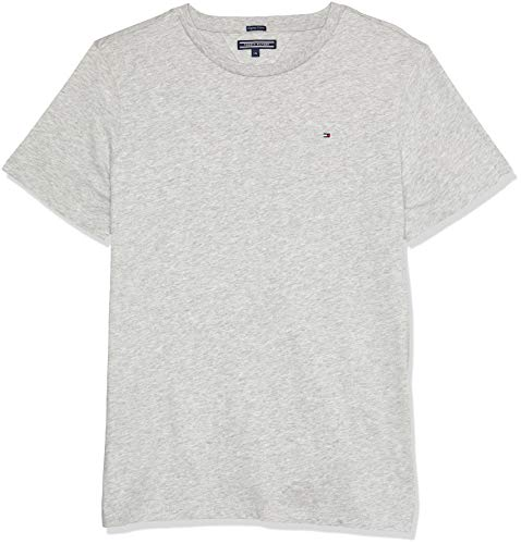 Tommy Hilfiger Jungen Boys Basic Cn Knit S/S  Regular Fit T-Shirt,  Grau (Grey Heather 004),  164 (HerstellerGröße: 14)