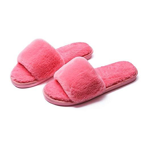 COQUI Slippers Mujer Cerradas,Zapatillas de algodón para Mujer con Fondo Grueso Invierno Lindo hogar hogar Pareja Interior cálido Zapatillas de algodón Antideslizantes-Amarillo (Hembra)_44-45