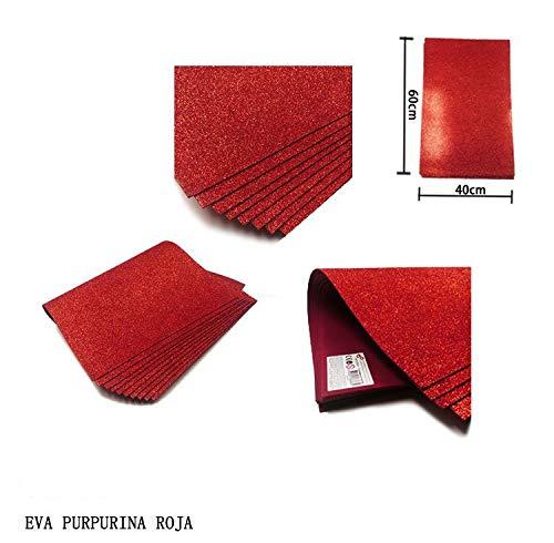 NOBRAND Goma Eva con Purpurina 40x60 Grosor 2MM, 10 Láminas Color Rojo.
