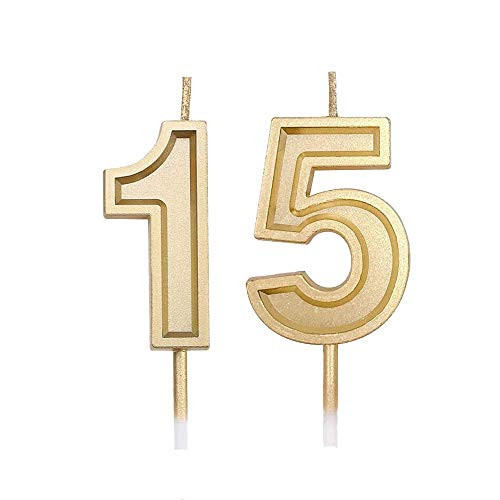 Bailym 15th Birthday Candles,Gold Number 15 Cake Topper for Birthday Decorations Party Decoration