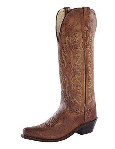 "Old West Ladies Leather Fashion / Cowgirl Boots -Tan Canyon 14"" shafts, 6 M US"