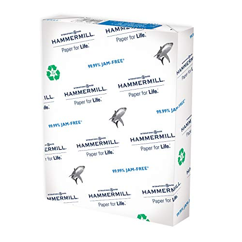 Hammermill Printer Paper, Great White 100% Recycled Paper, 8.5 x 11 - 1 Ream (500 Sheets) - 92 Bright, Made in the USA
