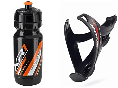 Raceone.it - Kit Race Duo X1 Matt: Portaborraccia X1 + Borraccia XR1 Ideale per Bici Race/MTB/Gravel/Trekking Bike. Colore: Nero/Orange 100% Made in Italy (RO_Kit_2_X1_M_B_Blk/O