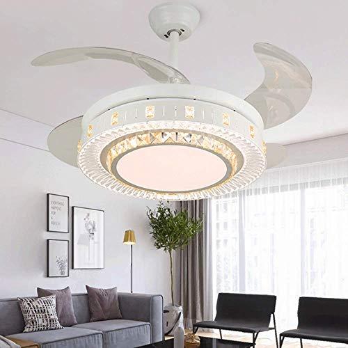 Smart Air Purifying - Ventilador de techo de cristal con iluminación, mando a distancia, decoración de dormitorio, lámpara de techo LED regulable para Villa Loft-Hall