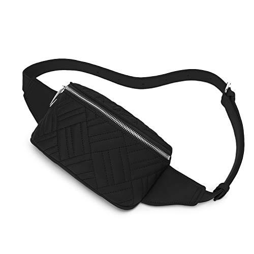 Wind Took Riñonera Mujer Riñoneras de Moda Riñonera Casual Bolso Cinturón Impermeable Riñonera para Compras/Citas/Fiestas/Viajes/Escuela Negra