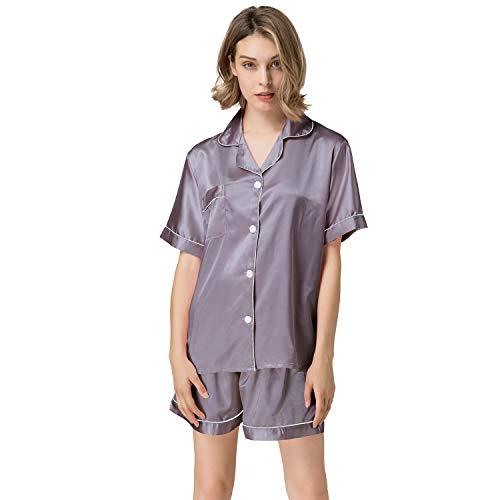 NANJUN Sleepwear Womens Bridesmaids Sexy Lingerie Satin Pajamas Two-Piece Silky Pj Sets Short Loungewear Button Down Pj Sets Nightwear(Rosybrown, S)