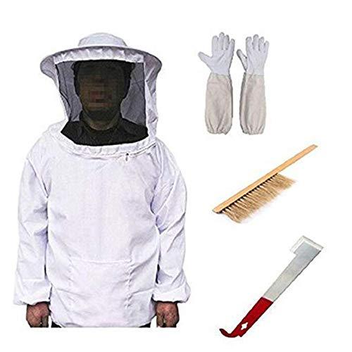 Bcamelys Professionelle Bienenzucht Werkzeuge ZubehöR Set, Bienenzucht Anzug + Handschuhe + Schaber + Bienenpinsel FüR Imker, Imkerjacke Mit ReißVerschluss
