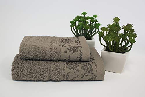 Set 1+1 Asciugamani da bagno Ada con Balza in Jacquard, Viso e Ospite misure: Viso: 50x100 cm. Ospite 38x58 cm. 100% cotone. Spugna di alta qualità proveniente da Portogallo. (Tortora)