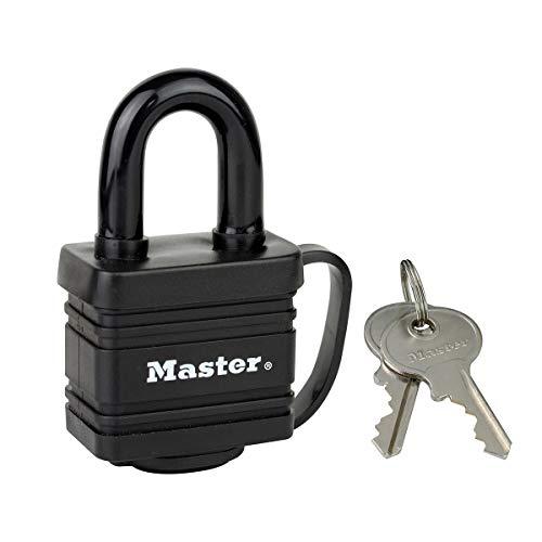 Master Lock 7804EURD Vorhängeschloss aus beschichtetem Stahl mit Stiftzuhaltung und Abdeckung, Schwarz, 7,8 x 4 x 2,9 cm