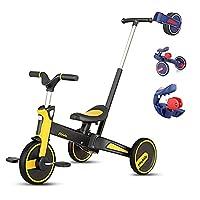 OLYSPM 三輪車 5in1 自転車 子供 ペダルなし 三輪車 手押し棒付き 制御可能な方向 折りたたみ 三輪車 新型 便利 幼児に向け 誕生日プレゼントに最適(イエロー)