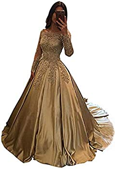 BessDress Bateau Long Sleeves Prom Dresses Satin Lace Evening Party Ball Gown BD282