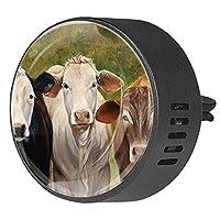 車のアロマセラピーディフューザーベントクリップ牛の絵 芳香剤エッセンシャルオイル香の香り2パック