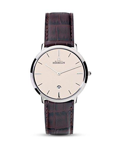 Michel Herbelin Unisex Erwachsene Analog Uhr mit Leder Armband 19515/17MA