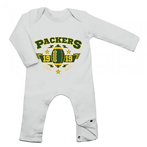 Shirt Happenz Packers Babybody 1919 Super Bowl American Football Langarm Langärmliger Strampler, Farbe:Weiß (White BZ13);Größe:3-6 Monate