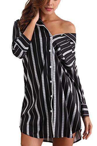 Giorzio Damen Nachthemd Knopfleiste Baumwolle Sleepshirt Kurzarm V-Ausschnitt Nachtwäsche Schlafanzugoberteil mit Brusttasche (Schwarz,S)