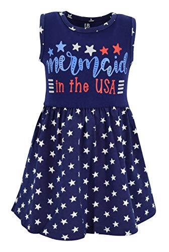 Unique Baby Girls Mermaid in The USA Sleeveless 4th of July Dress (6, Blue)