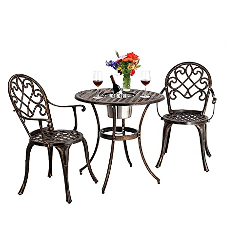 MYRCLMY 3 Piece Bistro Set with Ice Bucket, Antique Outdoor Patio Furniture Weather Resistant Garden Aluminum Table And Chairs for Backyard Pool