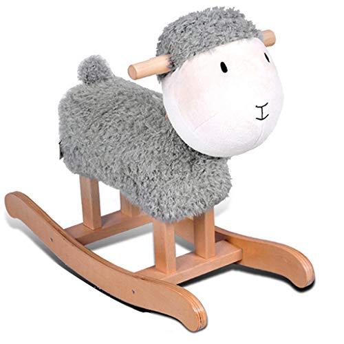 Moutons en Bois Massif Enfants Cheval À Bascule Trojan Enfants Cheval À Bascule Jouet Chaise À Bascule Cadeau Classique Mignon