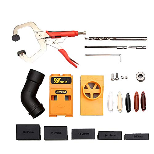 Inclined Hole Locator Woodworking Puncher with Dust Collector Pipe Pocket Hole Jig Kit System Step Drill Bit & Accessories DIY Tool