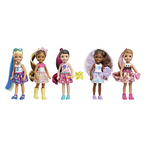 Barbie Color Reveal Chelsea Doll with 6 Surprises: Water Reveals Dolls Look and Creates Color Change on Leotard Graphic; Skirt, Shoes and Accessory; Food-Themed; Gift for Kids 3 Years and Older