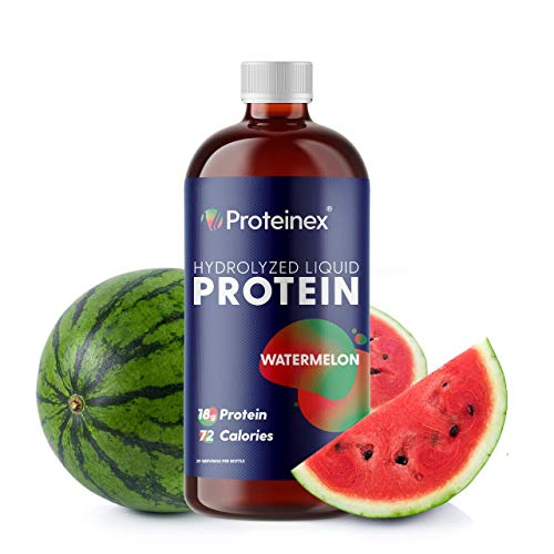 Liquid Protein Hydrolyzed by Proteinex 18 Grams Protein 30 oz, No Fat, Sugar Free, No Carbs. Predigested Hydrolysate Supplement. Supports Recovery Surgery Treatment Muscles and Joints (30, Watermelon)