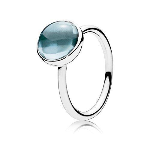 Pandora Damen-Ring Malerisches Tröpfchen 925 Silber Zirkonia blau Gr. 56 (17.8)-190982NAB-56