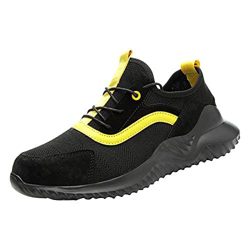 Mengove Zapatillas de Deporte con Punta de Acero para Hombres, Mujeres, Impermeables, Ligeras, de Seguridad, Zapatillas de Trabajo Antideslizantes, Zapatos Transpirables a Prueba de pinchazos