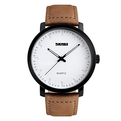 FeiWen Fashion heren roestvrij stalen horloges met lederen band minimalistisch analoog kwarts casual polshorloges minimalistisch