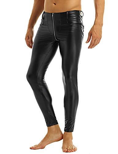 YiZYiF Herren Strumpfhosen Wetlook Glanz Lack-Optik schwarz Leggings Enge Hosen Unterwäsche Pants Schwarz X-Large