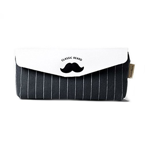 [Japonic]帆布製 シンプルな舟型ペンケース 可愛いひげマークがチャームポイント 大容量で使い勝手も抜群...