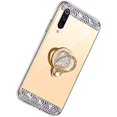 Herbests Kompatibel mit Xiaomi Mi 9 Hülle Glitzer Kristall Strass Diamant Silikon Handyhülle mit Ring Halter Ständer Schutzhülle Überzug Spiegel Clear View Handytasche,Gold