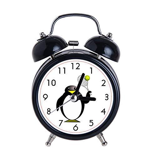 PAEEG Kinder Wecker Vintage Retro Silent Pointer Uhren Runde Nummer Dual Bell Loud Black Wecker Nachtlicht Home Dekore Cartoon Pinguin Tennis Uhren Spielen