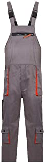 Work Trousers, SENRISE Bib and Brace Overalls with Multi-Pocket Knee Pad for Men - Dungarees Workwear (Grey - L Size)