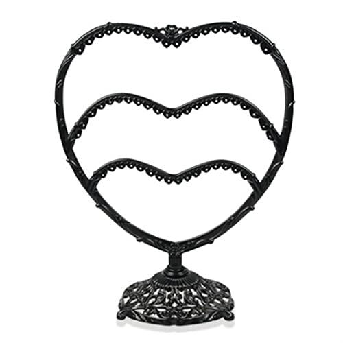 Pendientes de Forma de corazón Pulsera Pulsera Estante de Almacenamiento Joyería Pantalla Pantalla Ear Stud Stand Antller Tree Jewelry Organizador (Color : Black)