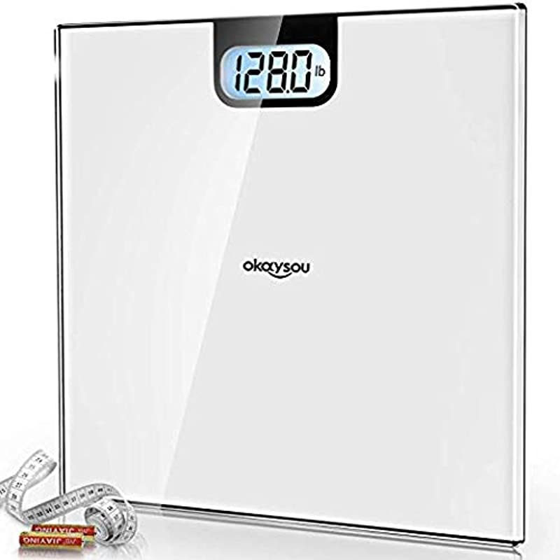 Okaysou Accurate Digital Bathroom Body Weight Scale All New Weight Scale With 3 6 Large Backlit LCD Display 6mm Tempered Glass Body Tape Measure Step On Technology 400lbs