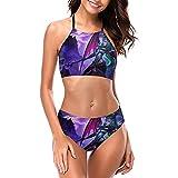 Khazix Rengar - Conjunto de bikini halter para mujer, sin espalda, 2 piezas, acolchado, ropa de playa