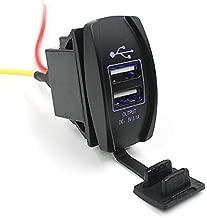 E-Bro 12-24V 3.1A Car Auto Jeep Boat Dual USB Charger Socket Plug With Blue LED lights